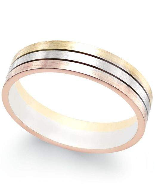Macy's - Metallic Tri-color Band In 18k White, Yellow And Rose Gold - Lyst