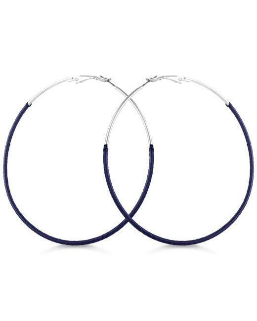 Guess - Blue Thread-wrapped Hoop Earrings - Lyst