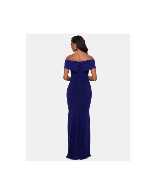 0519ac2f ... Xscape - Blue Petite Off-the-shoulder Evening Gown - Lyst ...
