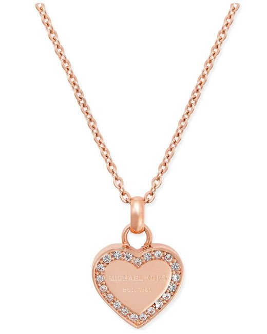 Michael Kors | Pink Crystal Heart Pendant Necklace | Lyst