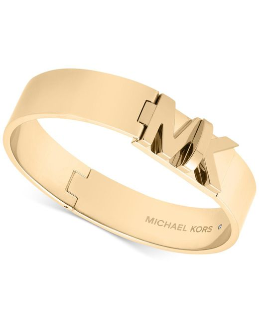 Michael Kors   Metallic Gold-tone Stainless Steel Logo Turnlock Hinged Bangle Bracelet   Lyst