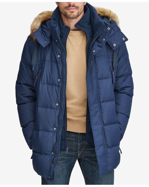 Marc New York - Blue Long Snorkel Down Coat With Faux-fur Trim for Men - Lyst