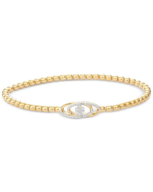Wrapped in Love - Metallic Diamond Cluster Bead Bracelet (1/6 Ct. T.w.) In 14k Gold Over Sterling Silver - Lyst