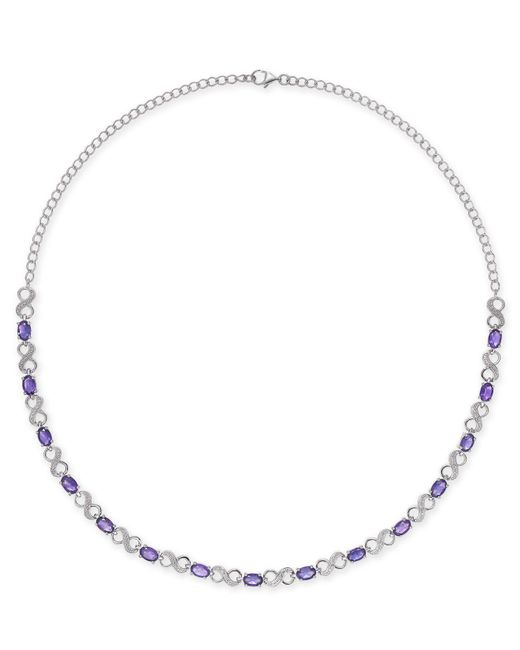 Macy's - Metallic Amethyst (7-1/2 Ct. T.w.) & Diamond Accent Infinity Collar Necklace In Sterling Silver - Lyst