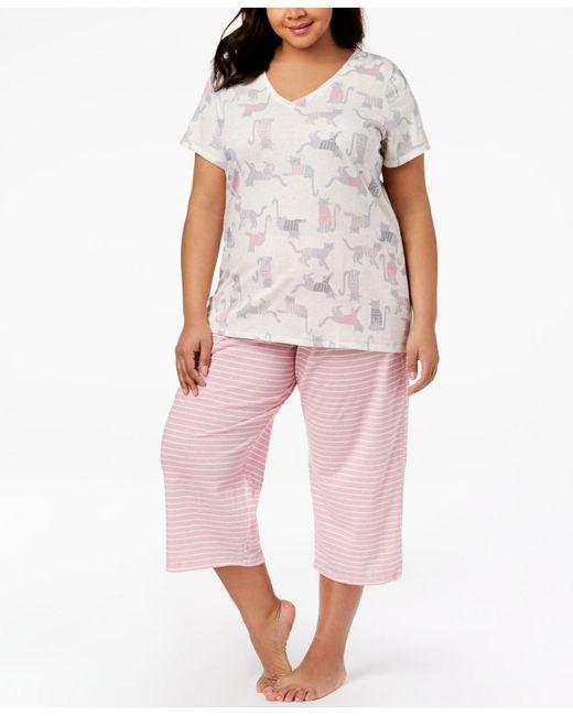 Hue - Pink ® Plus Size Printed Capri Pajama Set - Lyst