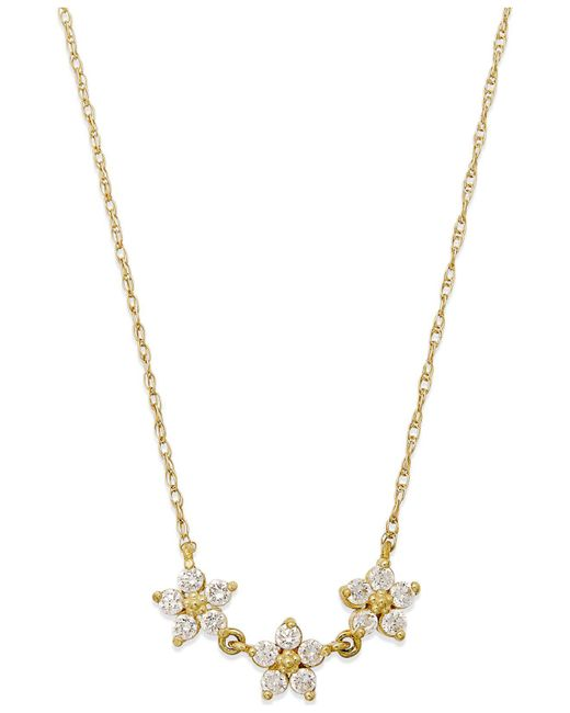 Macy's - Metallic Cubic Zirconia Linked Flower Pendant Necklace In 10k Gold - Lyst