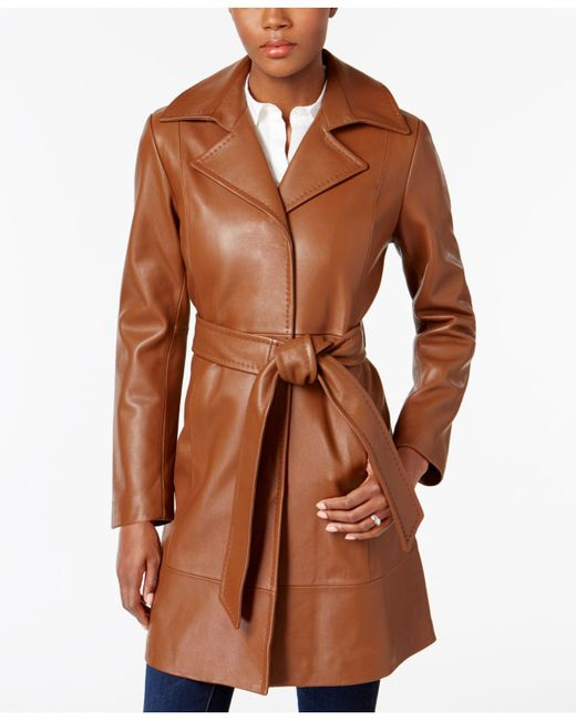 Jones New York | Brown Leather Belted Trench Coat | Lyst