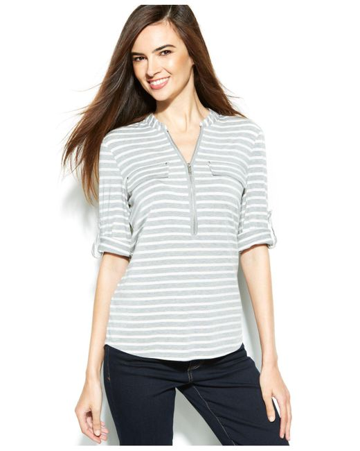 Calvin Klein | Gray Roll-tab Striped Zip-front Top | Lyst