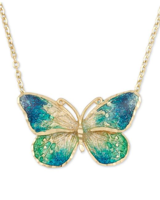 """Macy's - Blue Ceramic Butterfly Pendant Necklace In 14k Gold, 16"""" + 1"""" Extender - Lyst"""