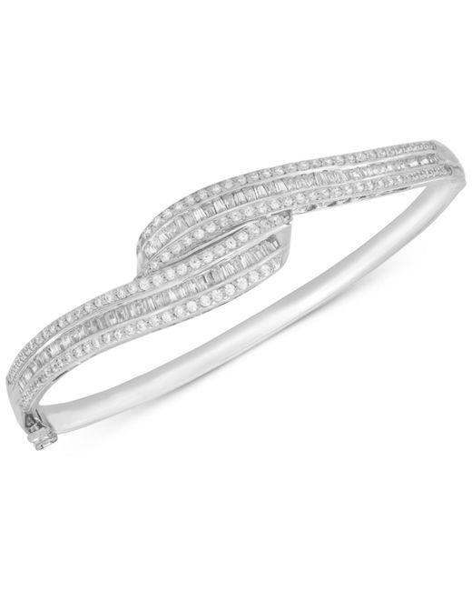 Wrapped in Love - Metallic Diamond Swirl Bangle Bracelet (2 Ct. T.w.) In Sterling Silver - Lyst