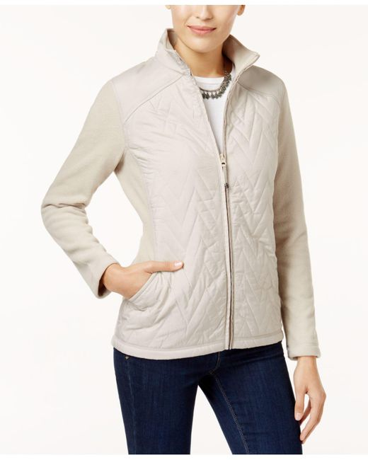 Style & Co. | Natural Petite Quilted Fleece Jacket | Lyst