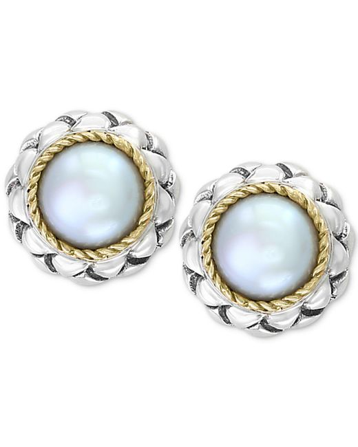 Effy Collection - Metallic Effy® Cultured Freshwater Pearl (8mm) Stud Earrings In Sterling Silver & 18k Gold - Lyst