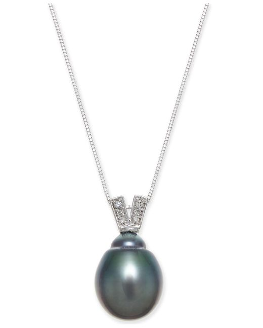 Macy's - Metallic Black Cultured Tahitian Pearl (11mm) & Diamond Accent Pendant Necklace In 14k White Gold - Lyst