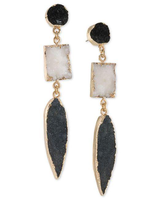 ABS By Allen Schwartz | Metallic Gold-tone Black & White Resin Drop Earrings | Lyst