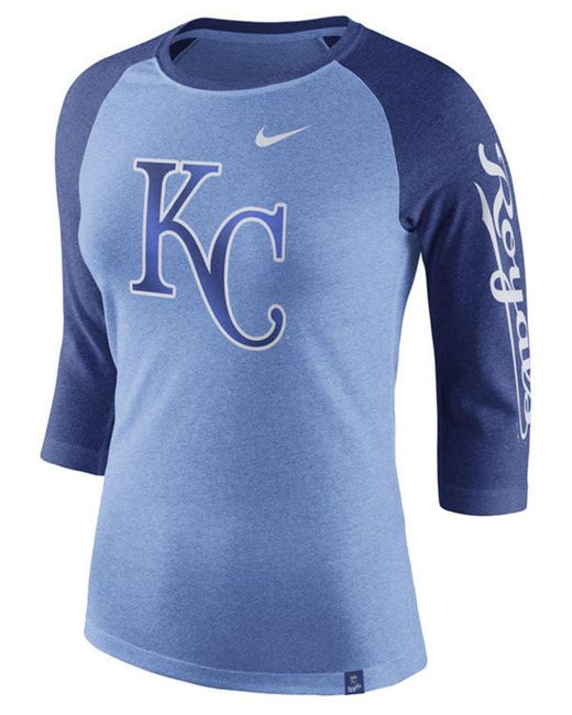 sale retailer 38c49 45973 Nike - Blue Kansas City Royals Tri-blend Raglan T-shirt for Men ...