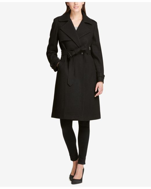 DKNY - Black Belted Double-breasted Trench Coat, Created For Macy's - Lyst
