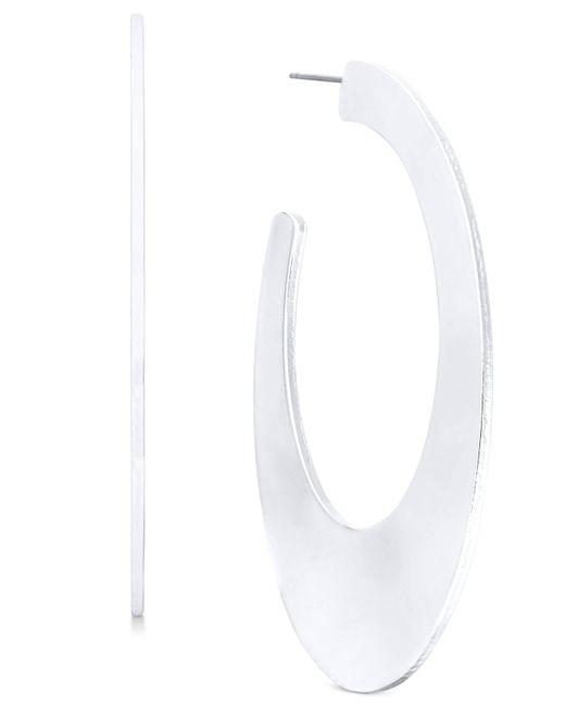 INC International Concepts - Metallic Silver-tone Flat Oval Open Hoop Earrings - Lyst