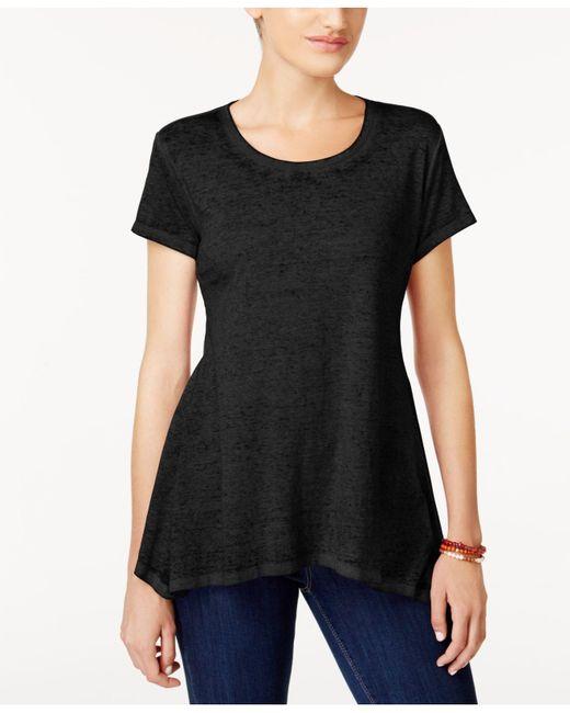 Style & Co. | Black Burnout Asymmetrical-hem T-shirt | Lyst