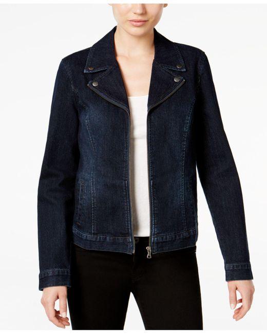 Style & Co. | Blue Denim Moto Jacket | Lyst