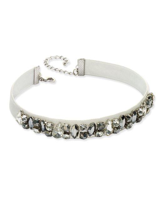 INC International Concepts   Silver-tone Clear & Hematite Crystal Light Gray Velvet Choker Necklace   Lyst