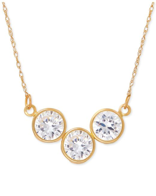 Macy's - Metallic Cubic Zirconia Trio Collar Necklace In 14k Gold - Lyst