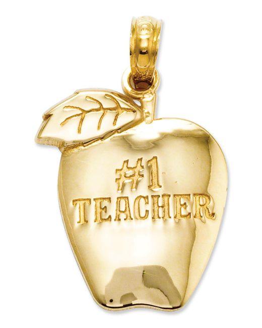 Macy's - Metallic 14k Gold Charm, Number 1 Teacher Apple Charm - Lyst