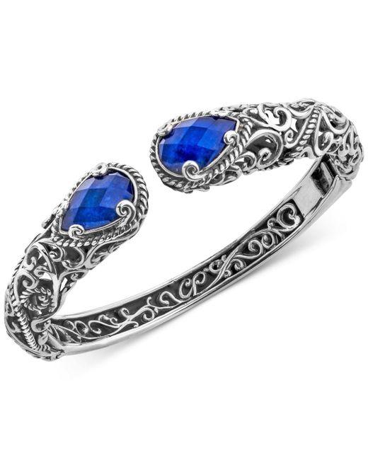Carolyn Pollack - Metallic Lapis Lazuli Doublet Filigree Bangle Bracelet (12 Ct. T.w.) In Sterling Silver - Lyst