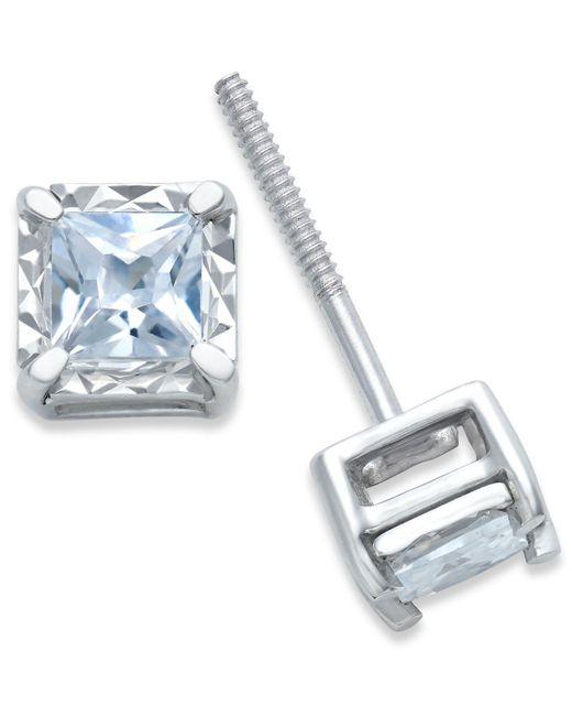 Macy's - Blue Diamond Stud Earrings (1/4 Ct. T.w.) In 14k White Gold - Lyst