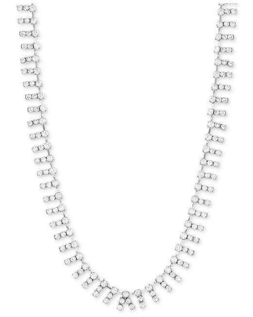 "Steve Madden - Metallic Silver-tone Crystal 18"" Collar Necklace - Lyst"