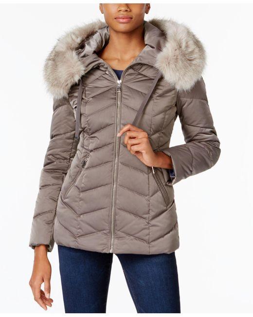 T Tahari   Multicolor Faux-fur-trim Hooded Coat   Lyst