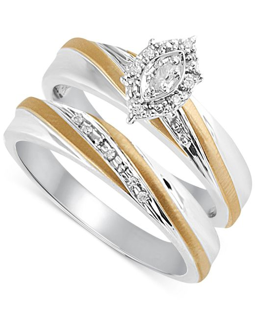Beautiful Beginnings - Metallic Diamond Accent Bridal Set In 14k Gold And Sterling Silver - Lyst