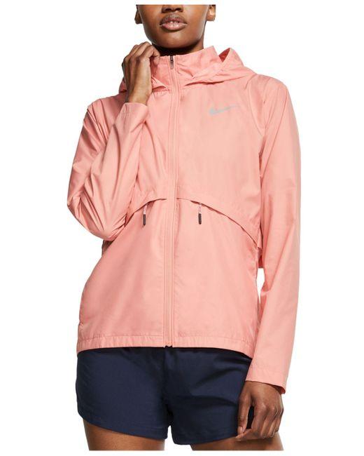 Nike Pink Essential Packable Hooded Running Jacket