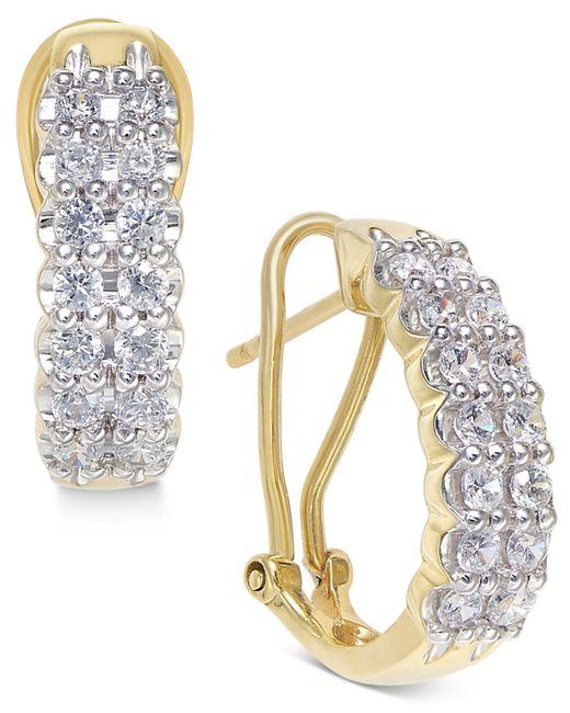 Macy's - Metallic Diamond Hoop Earrings (1 Ct. T.w.) In 10k White Gold & Yellow Gold - Lyst