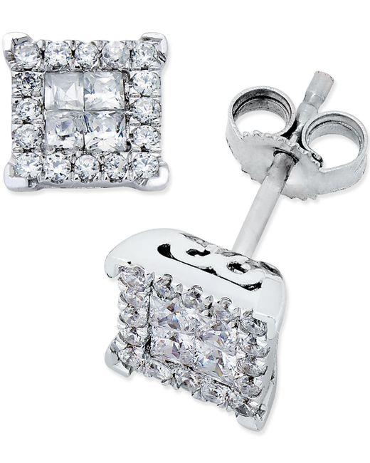 Macy's - Multicolor Diamond Stud Earrings (1/2 Ct. T.w.) In 14k White Gold - Lyst
