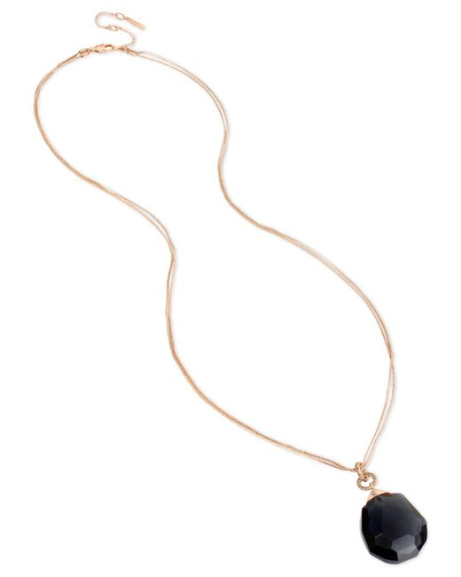 "Kenneth Cole - Metallic New York Rose Gold-tone Black Crystal & Stone Pendant Necklace, 33"" + 3"" Extender - Lyst"