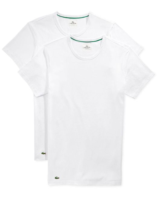 Lacoste   White Two-pack Slim Fit Crewneck Tees for Men   Lyst