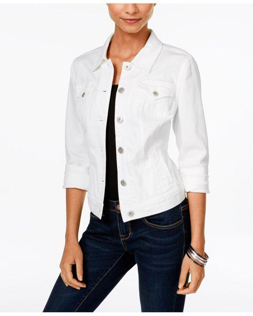 Style & Co. | Petite Denim Bright White Wash Jacket | Lyst
