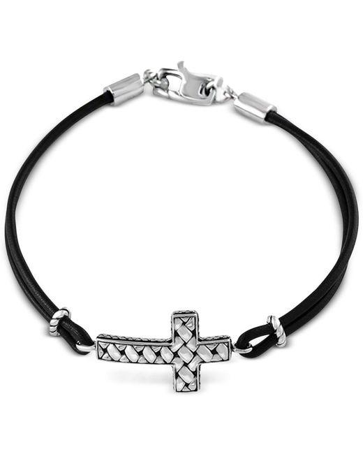 Effy Collection - Metallic Black Leather Cross Bracelet In Sterling Silver - Lyst