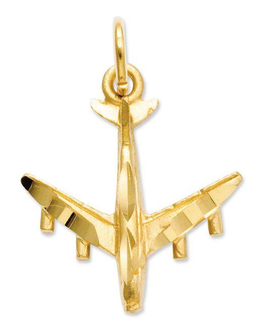 Macy's - Metallic 14k Gold Charm, 3d Airplane Charm - Lyst