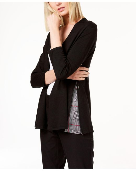 Alfani - Black Printed-inset Cardigan, Created For Macy's - Lyst