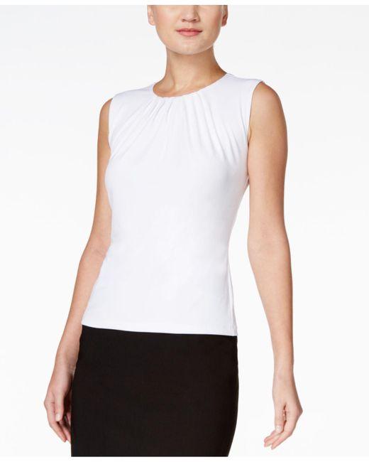 Calvin Klein - White Sleeveless Pleated Top, Regular & Petite - Lyst