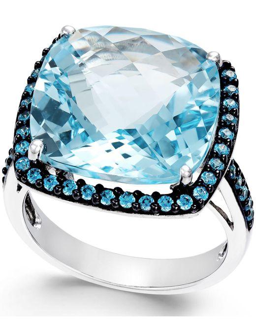 Macy's   Metallic Blue Topaz (12mm) And Swarovski Zirconia Ring In Sterling Silver   Lyst