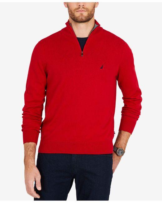 Nautica - Red Classic Fit Quarter-zip Sweater for Men - Lyst