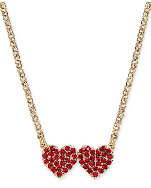 Kate Spade - Red Pavé Double-heart Pendant Necklace - Lyst