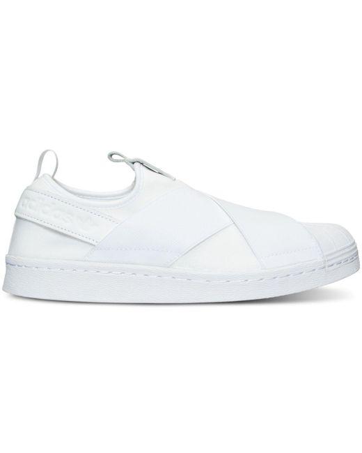 ... Adidas | Originals Superstar Slip On White Sneakers - White | Lyst ...