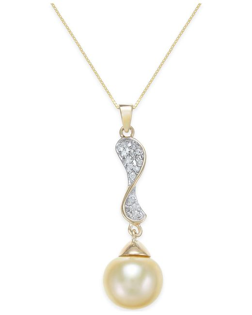 Macy's - Metallic Cultured Golden South Sea Pearl (10mm) And Diamond (1/10 Ct. T.w.) Pendant Necklace In 14k Gold - Lyst