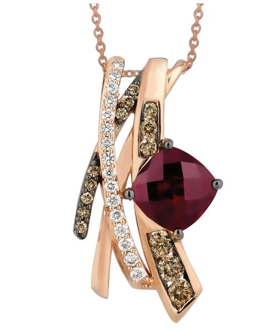 Le Vian - Red Raspberry Rhodolite Garnet (2-3/4 Ct. T.w.) And White And Chocolate Diamond (5/8 Ct. T.w.) Pendant In 14k Rose Gold - Lyst