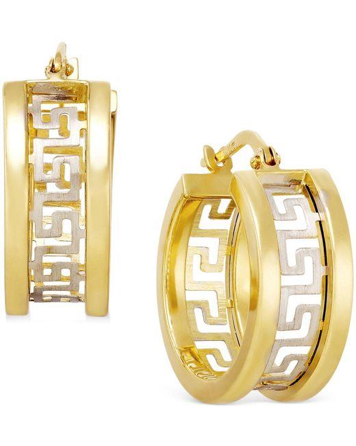 Macy's - Metallic Two-tone Greek Key Hoop Earrings In 14k Gold - Lyst