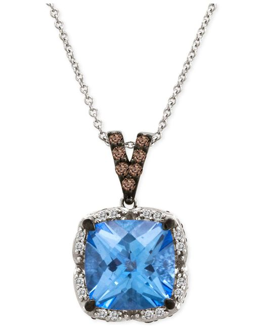 Le Vian   Blue Topaz (5 Ct. T.w.) And Diamond (1/3 Ct. T.w.) Pendant Necklace In 14k White Gold   Lyst