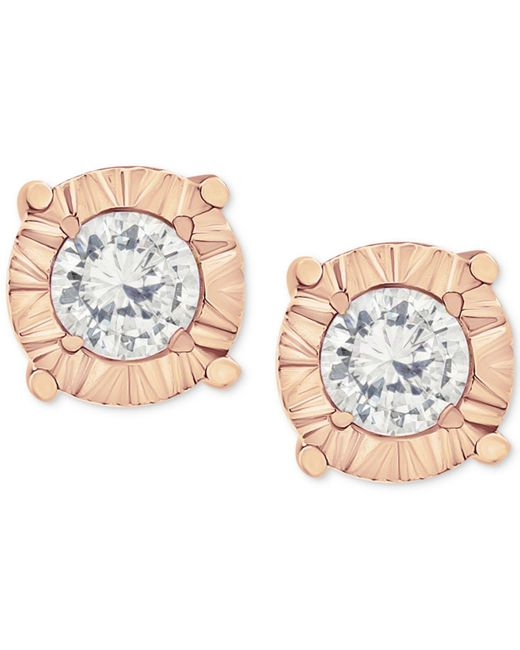 Macy's | Metallic Diamond Stud Earrings In 10k White Gold (1/4 Ct. T.w.) | Lyst
